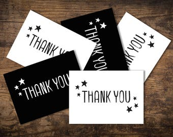 Set of 5 A6 Thank You Postcards, Black, white, Stars, monochrome, Thank You Cards, Just a Little Note to Say...
