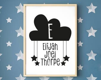 Personalised Cloud Initial Framed Digital print, Birth Gift, Christening Gift, A4, A3, Nursery Print, Clouds, Stars, Child's Name Print