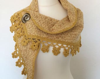 Handmade crochet shawl/wrap/mini shawl/ Shawlette