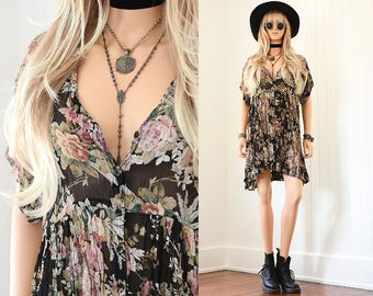 Floral Mini Dress 90s Grunge Dress Floral Mini Dress Boho Dress 90s Dress Floral Dress Vintage 90s Clothing Floral Mini Bohemian Dress S M