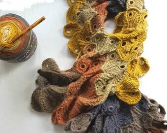 Autumn Peacock Motif Crochet Scarf Pattern