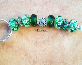 European style keychains-beaded keychains-large bead keychain-glass bead keychain-cool keychains-bling keychain-keychains for women-green