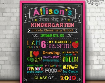 First Day of School Chalkboard Sign, First day of Kindergarten sign, first day of first grade sign, First Day of Preschool Sign, Printable