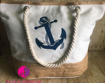 Personalized Cream Anchor Beach Bag W/Rope Handles