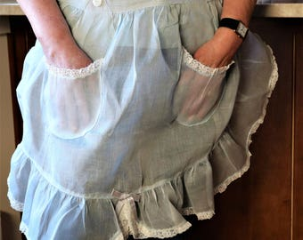 Sheer Hostess Apron, Baby Blue Apron, Lace Ruffles, Aprons with Pockets, Vintage Apron, Mid Century Hostess Apron