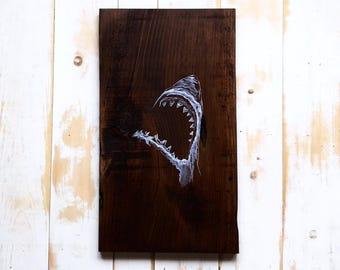 ORIGINAL WATERCOLOR ART,Shark Painting,Shark Wall Art,Shark Decor,Painting On Wood,Nautical Art,Nautical Decor,Great White Shark,Animal Art
