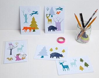 Set of 5 winter postcards / ansichtkaarten - design by Heleen van den Thillart
