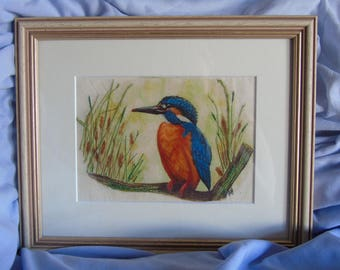 mounted and framed kingfisher on fabric with embroidery 10x8