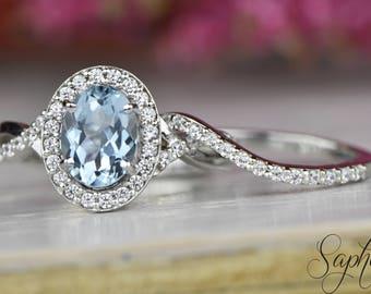 Set of 2: Aquamarine Engagement Ring and Band in 14k White Gold,8x6mm Oval Cut Halo Twisted Bridal Set, Diamond Wedding Ring by Sapheena