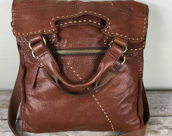 Lucky brand abbey road lamb leather crossbody bag/distressed brown leather/ lamb leather/ messenger bag/ vintage
