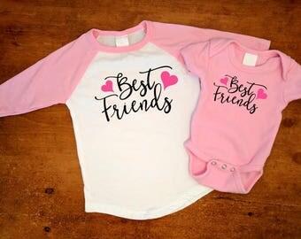 Best Friends Swirl Hearts - Matching Set - Pink Baseball Shirt & Pink Bodysuit
