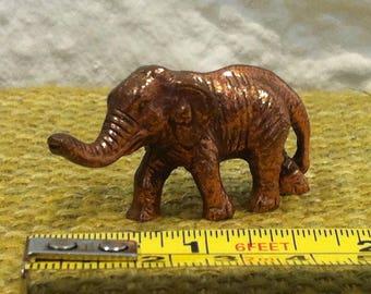 Vintage elephant animal dollhouse figure, copper or brass accessoires