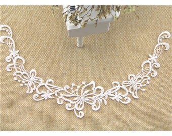 1 Pair White Embroidery Flower Lace Applique DIY Collar Appliques Patch Clothing   Accessories, WL1646