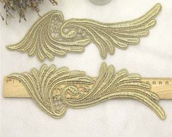 1 Pair gold  Embroidery Hollow Lace Applique DIY Trim Appliques Patch Clothing Accessories, WL592