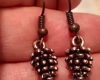 Pine cone Earrings Antique Copper