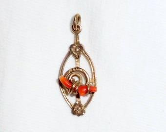 """Vintage 10k Yellow Gold Genuine Coral Lavalier Pendant 1-1/4"""" long Estate 3 Dimensional for Necklace 1.5g Red Orange 10 k kt 10kt Victorian"""