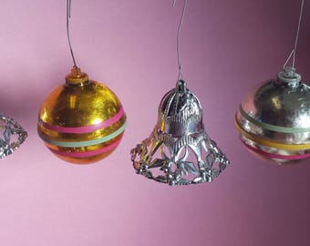 Mid-century plastic Christmas ornaments, bells, striped