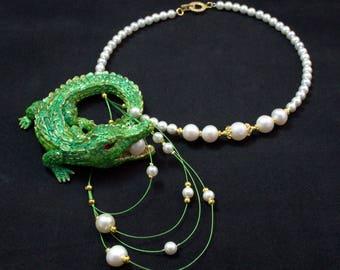 Statement jewelry Necklace crocodile Polymer clay necklace Art Nouveau jewelry Green gold jewelry Fantasy necklace