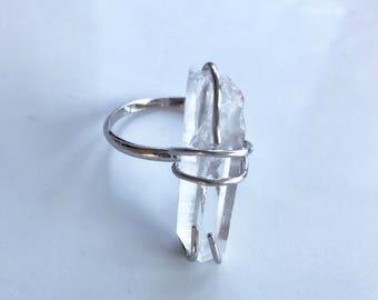 Swarovski Crystal and Sterling Silver Ring //