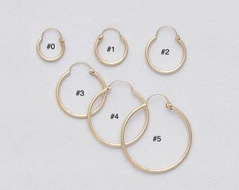 1.2 mm Gold Filled Endless Hoop Earrings/ PLAIN/ Gold Filled Hoop/ U PUSH BACK Closure/ Infinity Hoops/ Selling by One pair