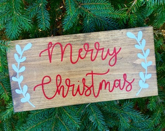 Merry Christmas Wood Sign, Customize Language for Sign