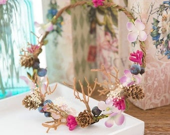 Boho Flower crown, wedding flower crown, beach flower crown