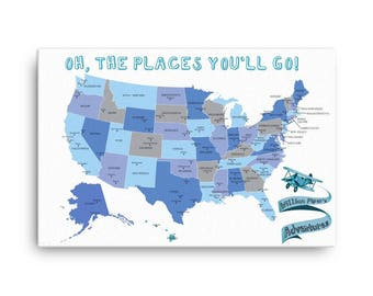 United States Map Etsy - Us road map wall decals