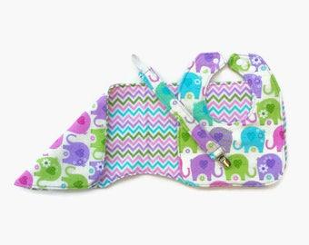 Elephants, zig zag, baby girl, bib, burp cloth, pacifier clip set, reversible, newborn, baby shower gift, baby gift