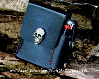 Leather cigarette belt case with skull