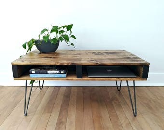 Pallet Coffee Table, Rustic Coffee Table, Pallet Style Coffee Table,  Hairpin Leg Industrial