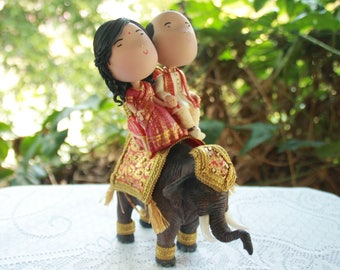 Customized traditional Indian wedding costume wedding cake topper Elephant Bride Groom  Wedding keepsake. The bride and groom.  Cake topper.