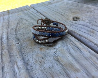 Gemstone Leather Wrap Braceler or Choker blue