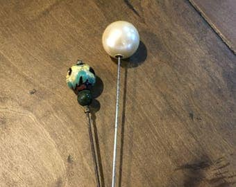 2 Vintage Hat Pins - Pearl Hat Pin - Round Decorative Hat Pin - Fashion Hat Pins