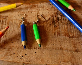 Upcycled colored pencils earrings.