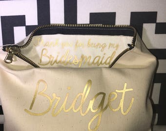 Custom Bridal party cosmetic bags/ Bridal Party Gift