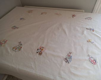 """""""Rabbits"""" hand embroidered tablecloth"""