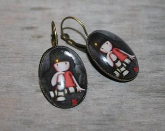 Pensive little - earrings oval metal color bronze