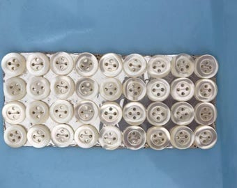Mother of pearl buttons, original vintage pack of 36 beautiful buttons, 4 hole 13mm.