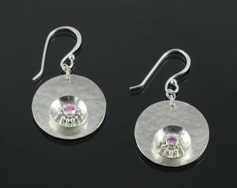 Handmade Hammered Flower Earrings with Pink Cubic Zirconia