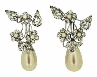 Schreiner 1950s Rhinestone and Faux Pearl Vintage Floral Earrings