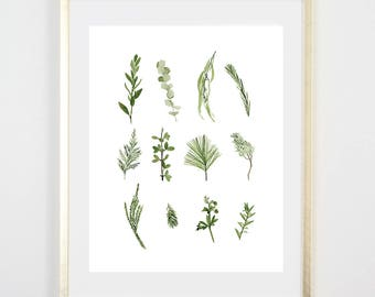 Greenery Art Print / Watercolor / Gifts for her / Home Decor / Gift for mom / Botanical Decor/ Botanical Art / Girls Room / Original Art