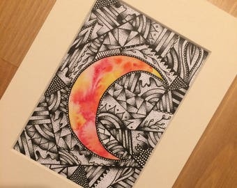 Watercolour moon illustration | mental health recovery bpd eating disorder