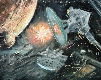 Star Wars Art, Star Wars Painting, Star Wars Oil Painting on Canvas