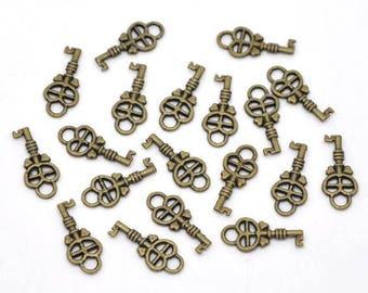 10 pc Antique Bronze Key Charms 18x8mm
