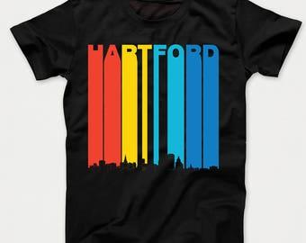Vintage 1970's Style Hartford Connecticut Skyline Kids T-Shirt