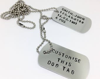 customised gifts, military dog tags, army dog tags, double dog tags, add your words, handstamped, mens dog tag, mans necklace, customized