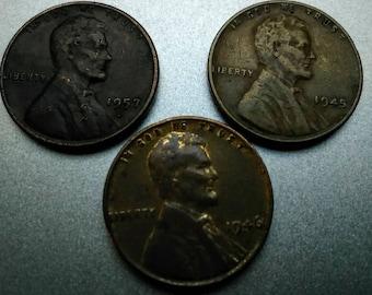 1945 1946 1957 wheat pennies nice coins