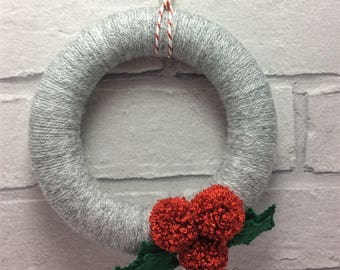 Mini/small wool holly wreath