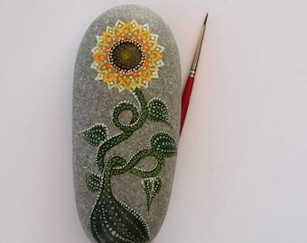 Best Seller! Hand-painted Sunflower on Mediterranean Sea Pebble Rock.