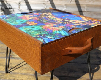 Upcycled wooden games/storage coffee table with decoupaged sliding top & hairpin legs